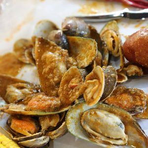 Mussels Cooked in Cajun Sauce.
