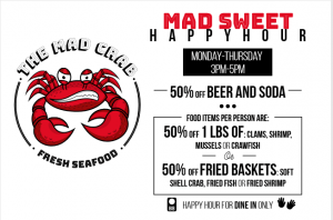 Mad Sweet Happy Hour menu.