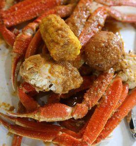 Crab Leg Boil Bag with Corn.
