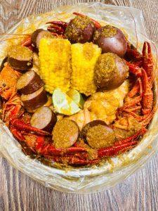 Crawfish Boil Bag. Crawfish, Corn, Sausage, Shrimp and Lime.