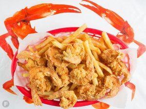 Fried Shrimp Basket with a side of Fries.